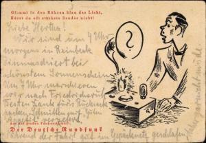 Künstler Ak Der Deutsche Rundfunk, glimmt in den Röhren blau das Licht, Radio