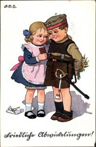 Künstler Ak Engelhard, P.O.E., Junge in Uniform, Mädchen, Schokolade