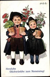 Künstler Ak Engelhard, P.O.E., Glückwunsch Namenstag, Mann, Frau, Blumentöpfe