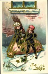 Ak Glückwunsch Neujahr, Schornsteinfeger, Geldsack, Kleeblatt, Brief