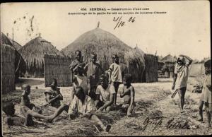 Ak Senegal, Construction d'une case, Afrikaner, Hausbau