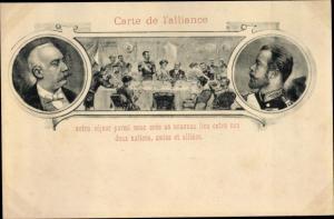 Ak Carte de l'alliance, Französisch Russische Allianz,  Präsident Félix Faure, Zar Nikolaus II.