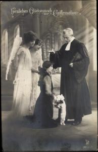 Ak Glückwunsch Konfirmation, Priester, Engel, Konfirmandin, RPH 3996 2