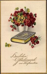 Ak Glückwunsch Konfirmation, Bibel, Blumen