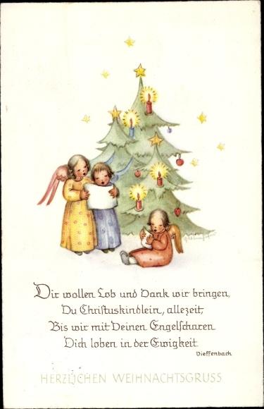 Gedicht Ak Glückwunsch Weihnachten Engel Tannenbaum Dir Wollen Lob Und Dank Wir Bringen