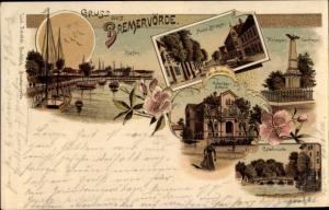 Litho Bremervörde in Niedersachsen, Hafen, Neue Straße, Ackerbauschule, Kriegerdenkmal, Ostebrücke