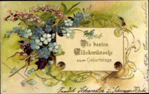 Präge Litho Glückwunsch Geburtstag, Vergissmeinnicht
