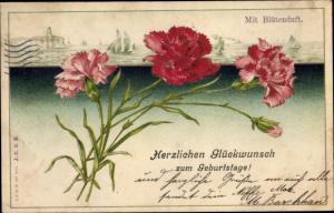 Präge Litho Glückwunsch Geburtstag, Nelkenblüten, Segelboote