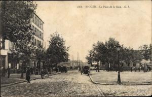 Ak Saint Ouen Seine Saint Denis, La Place de la Gare