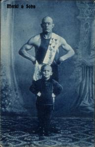 Ak Zirkus, Gewichtheber Merkl und Sohn