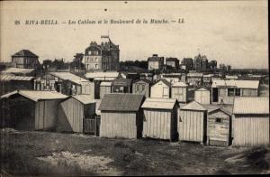 Ak Riva Bella Calvados, Les Cabines et le Boulevard de la Manche