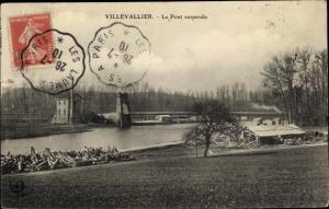 Ak Villevallier Yonne, Le Pont suspendu, Le Pont