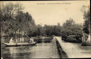 Ak Vincelles Yonne, Les Bords de l'Yonne, Le Deversoir, Ruderboot