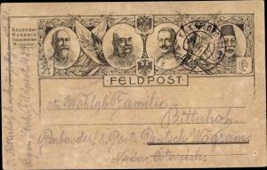 Künstler Ak Kaiser Wilhelm II., Kaiser Franz Joseph I., Ferdinand I. von Bulgarien, Mehmed V., I. WK