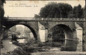 Ak Poissy Yvelines, Le Pont sur le Bras Migneaux
