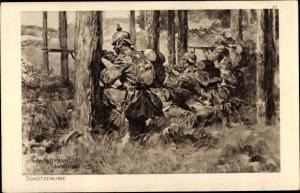 Künstler Ak Hoffmann, Anton, Das deutsche Heer, Schützenlinie, Soldaten im Wald