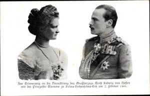 Ak Großherzog Ernst Ludwig von Hessen, Prinzessin Eleonore zu Solms Hohensolms Lich, Hochzeit 1905