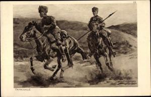Künstler Ak Hoffmann, Anton, Das deutsche Heer, Husaren Patrouille