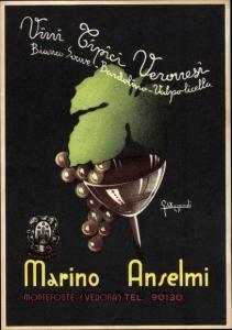 Künstler Ak Marino Anselmi, Monteforte Verona, Wappen, Weinglas, Weinrebe, Weinblatt