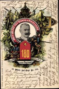 Ak König Wilhelm II. von Württemberg, 10. Württembergisches Infanterie Regiment 180