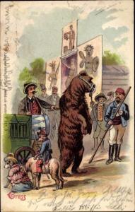 Litho Tanzender Bär als Zirkus Attraktion, Dompteur, Hunde in Kleidung