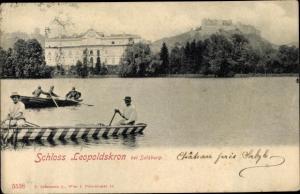 Ak Salzburg in Österreich, Schloss Leopoldskron, Wasserpartie, Bootsfahrt