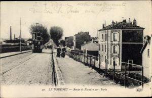 Ak Le Bourget Seine Saint Denis, Route de Flandre vers Paris