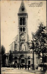 Ak Saint Ouen Seine Saint Denis, L'Eglise Notre Dame du Rosaire, Avenue des Batignolles