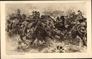 Künstler Ak Hoffmann, Anton, Angriff der Ulanen, Das deutsche Heer, Ostpreußenhilfe 1914/15