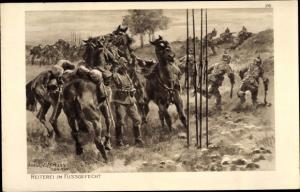Künstler Ak Hoffmann, Anton, Reiterei im Fußgefecht, Das deutsche Heer, Ostpreußenhilfe 1914/15