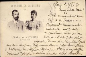 Ak Zar Nikolaus II. von Russland, Zarin Alexandra, Besuch in Paris 1896