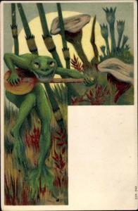 Künstler Ak Frosch mit Musikinstrument, Pilze