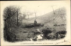 Ak La Ferté Gaucher Seine et Marne, rut de la michée, homme, eau