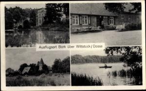 Ak Bork Kyritz in der Prignitz, Gasthaus, Terrasse, Seeblick, Kirche