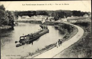 Ak La Ferté sous Jouarre Seine et Marne, vue sur la Marne, bateaux fluviaux