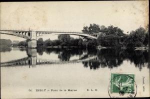Ak Esbly Seine et Marne, pont de la Marne, vue générale