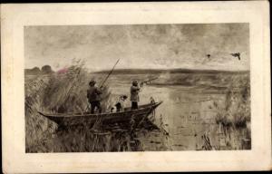 Künstler Ak Jäger bei der Entenjagd, Ruderboot