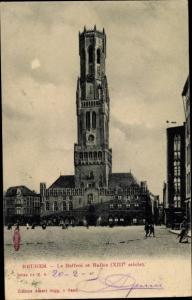 Ak Bruges Brügge Flandern Westflandern, Le Beffroi et Halles