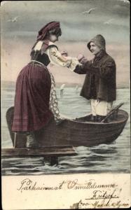 Ak Fischer hilft Frau in Ruderboot