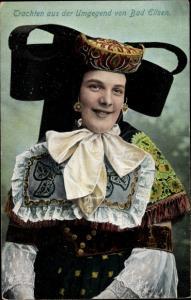 Ak Frau in Tracht aus der Gegend von Bad Eilsen, Schaumburg Lippische Landestracht