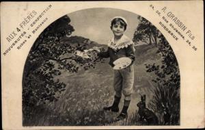 Ak Glückwunsch Ostern, Junge bemalt Eier in einem Nest, Hase