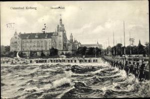 Ak Kołobrzeg Kolberg Pommern, Strandschloss