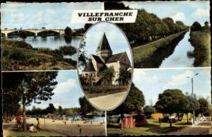 Ak Villefranche sur Cher Loir et Cher, Le Cher et le pont de St Julien, Le canal de Berry, L'Eglise