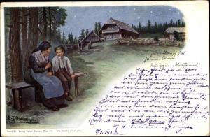 Künstler Ak Döcker, E., Frau und Junge auf einer Bank, Bauernhaus