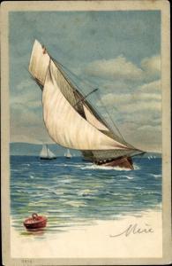 Präge Litho Segelboote auf dem Wasser
