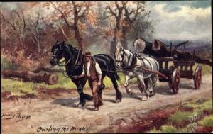 Künstler Ak Payne, Harry, Carting the trunks, Pferdefuhrwerk, Baumstämme