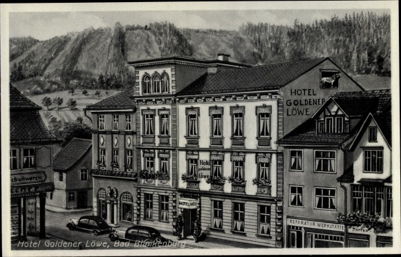 Ak Bad Blankenbrug Schwarzatal, Thüringen, Teilansicht, Hotel Goldener Löwe, Reparatur Werkstätte 0