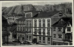 Ak Bad Blankenbrug Schwarzatal, Thüringen, Teilansicht, Hotel Goldener Löwe, Reparatur Werkstätte