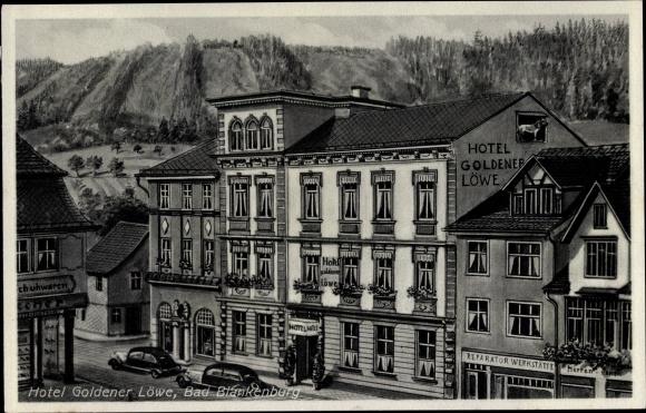 Ak Bad Blankenburg Schwarzatal, Thüringen, Teilansicht, Hotel Goldener Löwe, Reparatur Werkstätte 0