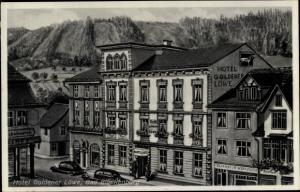 Ak Bad Blankenburg Schwarzatal, Thüringen, Teilansicht, Hotel Goldener Löwe, Reparatur Werkstätte